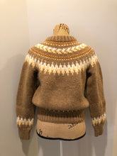 Load image into Gallery viewer, Kingspier Vintage - Handknit wool lopi sweater with browns, cream and yellow design. Made in Scotland. Size small/ XS.