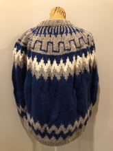 Load image into Gallery viewer, Handknit wool lopi sweater with dark blue, grey and white design. Made in Greece. Size XL.