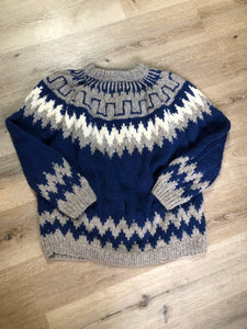Handknit wool lopi sweater with dark blue, grey and white design. Made in Greece. Size XL.