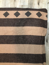 Load image into Gallery viewer, Kingspier Vintage - Brown striped wool throw with diamond shape design.