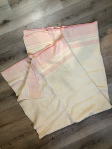 Vintage Eatonia Beige and Pink Wool Blanket