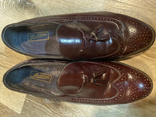Load image into Gallery viewer, Kingspier Vintage - Burgundy Full Brogue Wingtip Loafers with Tassels by Tradition - Sizes: 7M 8.5W 39-40EURO, Made in Chzechoslovakia, Genuine Leather Soles