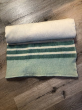 Load image into Gallery viewer, Vintage Ayer's of Lachute Green Stripe Wool Blanket