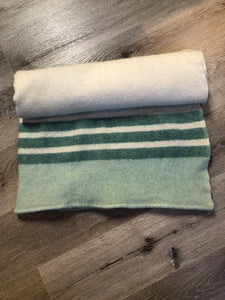 Kingspier Vintage - Vintage 60's Ayer's of Lachute 100% wool blanket in cream with green stripes at both ends. Mother proof and made in Canada.