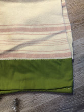 Load image into Gallery viewer, Vintage Boswell Beige with Pink Stripe Wool Blanket
