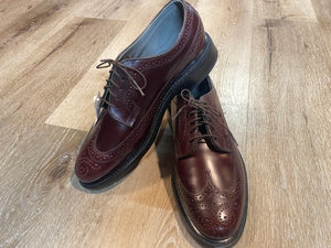 Kingspier Vintage - Burgundy Full Brogue Wingtip Derbies by Dexte - Sizes: 7M 8.5W 39-40EURO, Made in USA, Dexter USA Leather Soles and Rubber Heels