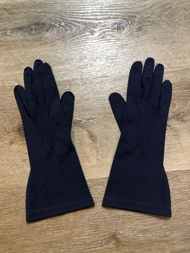 Kingspier Vintage - Vintage navy blue lightweight gloves with raised stitching. Synthetic blend fabric. Size small women's.