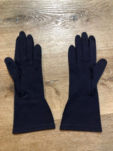 Load image into Gallery viewer, Kingspier Vintage - Vintage navy blue lightweight gloves with raised stitching. Synthetic blend fabric. Size small women's.