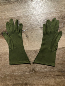 Kingspier Vintage - Vintage olive green lightweight gloves with decorative stitching. Synthetic blend fabric has a bit of stretch. Size small/ 7 womens.
