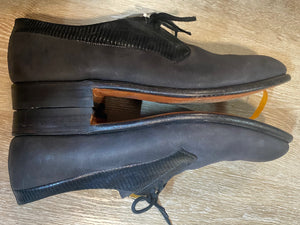 Kingspier Vintage - Black Lizard Collar Derbies by Dack's Finest Quality Shoes for Men - Sizes: 8M 10W 41EURO, Made in Canada, Genuine Imported Lizard Collar with Matte Black Body, Extra Quality Leather Soles and Rubber Heels