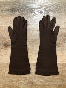 Kingspier Vintage - Vintage dark brown lightweight gloves with brown iridescent buttons running down the side. Size small/ 7 womens.