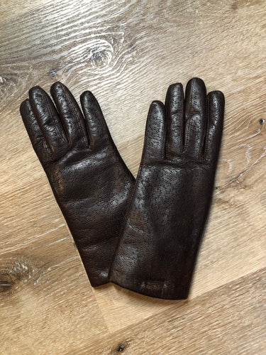 Kingspier Vintage - Dark brown textured leather gloves with white fur lining. Size small/ 6.5. Made in Hungary.