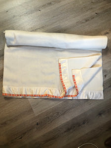 Vintage White Wool Blanket with White Ribbon Trim