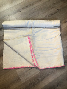 "Kingspier Vintage - Handmade lightweight wool lap blanket with hot pink stitching and ""AM"" monogram stitched on one corner."