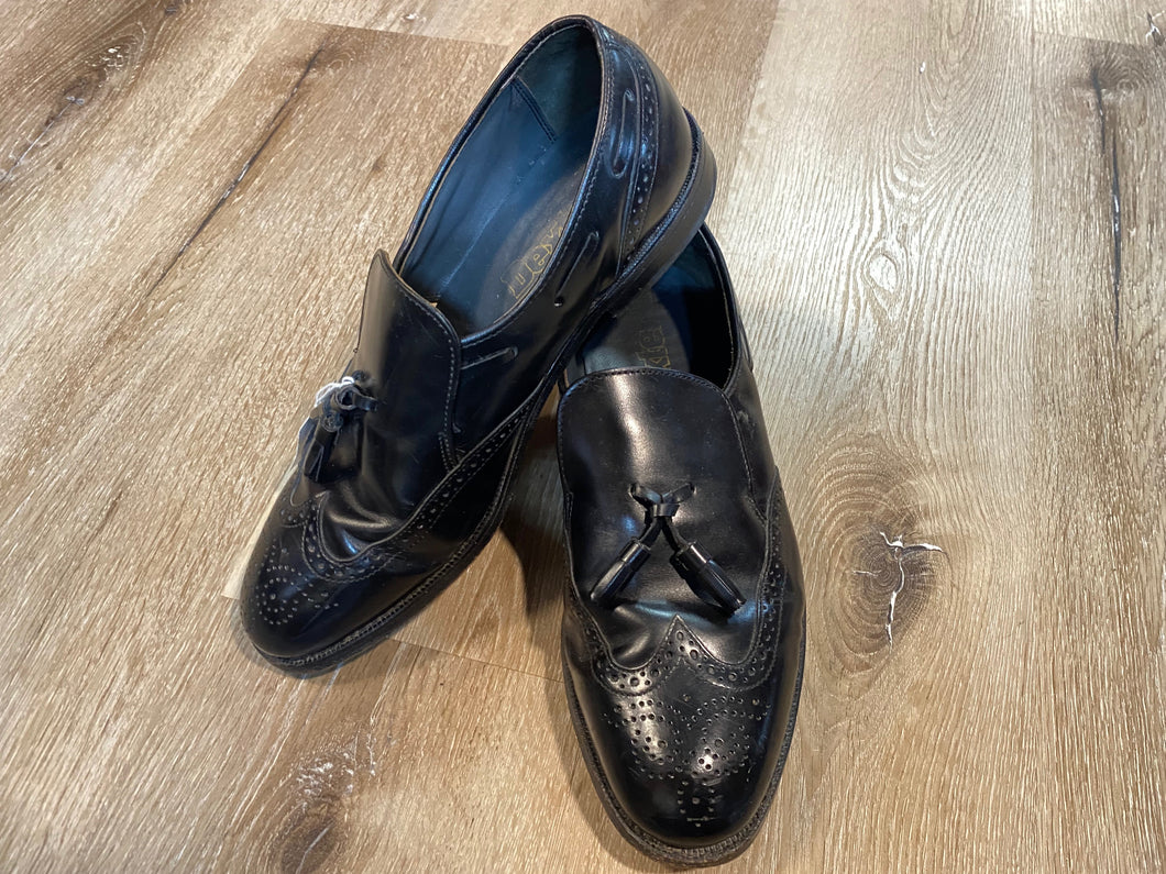 Kingspier Vintage - Black Full Brogue Wingtip Tassel Loafers by Dexter USA, Sizes: 8.5M 10.5W 41-42EURO, Made in USA, Dexter Leather Soles and Rubber Heels