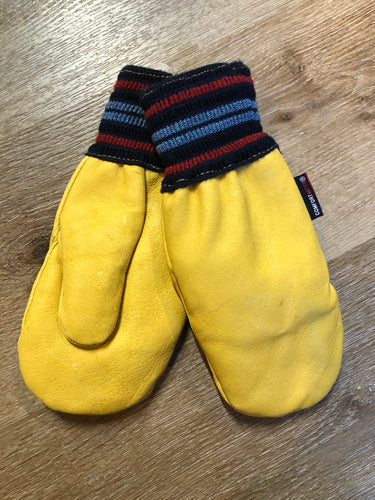 Kingspier Vintage - Vintage deadstock comfort hockey leather mitts in yellow with blue and red striped knit cuff and wool lining. Size small.