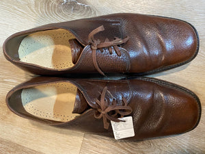 Kingspier Vintage - 1970s Brown Pebbled Leather Plain Toe Derbies - Sizes: 9M 11W 42EURO, Made in England, Genuine Leather Insoles, Leather Soles and Rubber Heels