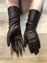 Load image into Gallery viewer, Brown Leather Three-Quarter Length Gloves with Lining