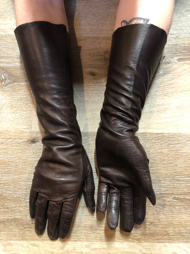 Kingspier Vintage - Dark brown kid leather three-quarter length gloves. Beautiful soft and lightweight leather. Made in France, Size small/ 7.