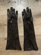 Load image into Gallery viewer, Dark Brown Kid Leather Three-Quarter Length Gloves