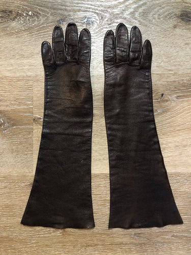 Kingspier Vintage - Dark brown leather three-quarter length gloves, Beautiful soft and lightweight leather. Size small/ 6.5.