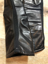 Load image into Gallery viewer, Kingspier Vintage - Black leather three-quarter length gloves feature a lining and a stretchy section for comfort. Size small/ 8.