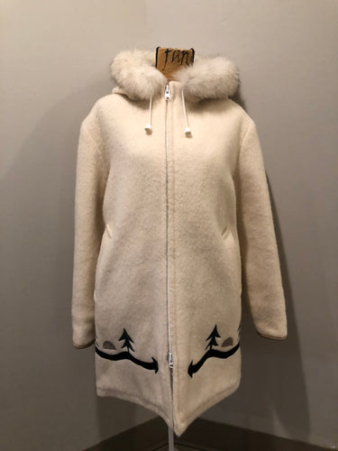 Kingspier Vintage - Hudson's Bay Company white pure virgin wool northern parka featuring a hood with fox fur trim, zipper closure, quilted lining, inside drawstring, slash pockets, hidden knit cuffs and tree a nd igloo design suede appliqué on the front and back. Made in Canada. Size 14/ large.