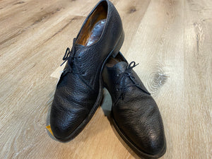 Kingspier Vintage - Black Pebbled Water Bison Leather Plain Toe Derbies by Dack's - Sizes: 8M 10W 41EURO, Made in Canada, Hand Benched Bespoke Quality, Leather Soles and Insoles, Wingfoot Goodyear Rubber Heels