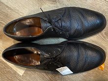 Load image into Gallery viewer, Kingspier Vintage - Black Pebbled Water Bison Leather Plain Toe Derbies by Dack's - Sizes: 8M 10W 41EURO, Made in Canada, Hand Benched Bespoke Quality, Leather Soles and Insoles, Wingfoot Goodyear Rubber Heels