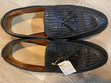 Load image into Gallery viewer, Kingspier Vintage - Black Seal Skin Textured Tassel Loafers by Hartt - Sizes: 8.5M 10.5W 41-42EURO, Made in Canada, Extra Quality Actraguard II Leather Soles, Rubber Heels, Genuine Leather Insoles