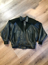 Load image into Gallery viewer, Kingspier Vintage - Bainton green leather jacket with green suede details, zipper and snap closures, slash pockets and black lining. Made in Canada. Size large.