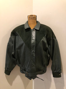 Vintage Bainton Green Leather Jacket