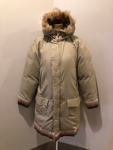 Kingspier Vintage - Vintage Rice Sportswear beige down-filled parka, with a fox fur trimmed hood. This exceptionally warm parka has embroidered ribbon detail in the cuffs and bottom hem. Parka features zipper and ribbon button closures, flap pockets and handwarmer pockets, Size medium. Made in Canada.