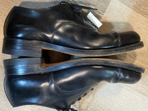 Kingspier Vintage - Black Leather Captoe Oxfords by The Hartt Shoe - Sizes: 9M 11W 42EURO, Made in Canada, Custom Grade Leather Soles, Rubber Heels