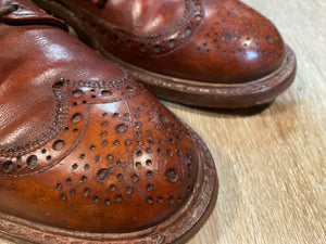 Kingspier Vintage - Brown Leather Full Brogue Wingtip Derbies - Sizes: 9M 11W 42EURO, Johnson Written in Pen on Sole of Left Shoe, Discolouration on Tongues, Cat's Paw Won't Slip Rubber Soles