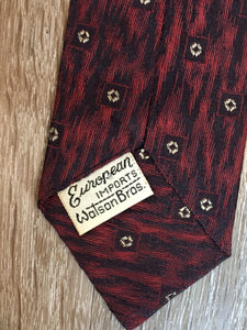 Vintage Watson Bros. European Imports Red, Black and Cream Tie