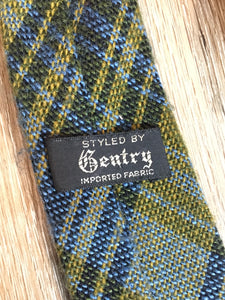 Vintage Gentry Blue and Yellow Plaid Wool Tie