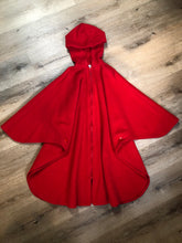Load image into Gallery viewer, Kingspier Vintage - My Maine Bag bright red wool cape with hood, zipper closure and buttons at the sides to create sleeves. Made in Bangor, Maine, USA. One size fits most.