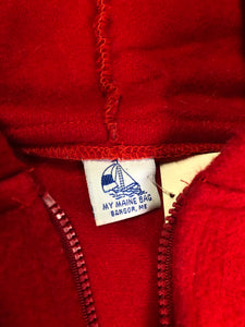 Kingspier Vintage - My Maine Bag bright red wool cape with hood, zipper closure and buttons at the sides to create sleeves. Made in Bangor, Maine, USA. One size fits most.