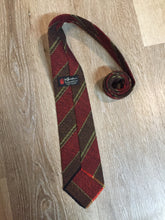 Load image into Gallery viewer, Vintage Au Terroir Red, Black, Brown and Green Striped Wool Tie