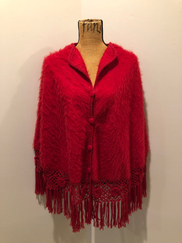 Kingspier Vintage - Red baby alpaca wool poncho with buttons down the front and crochet and tassels at the bottom,