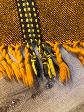 Load image into Gallery viewer, Kingspier Vintage - Vintage wool poncho with yellow, orange and brown designs and tassels on the bottom