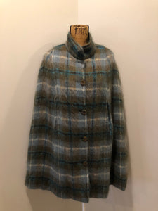 Green Plaid Mohair Cape