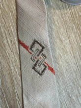 "Load image into Gallery viewer, Kingspier Vintage - Metallic beige, orange and brown Tie. Fibres unknown.  Length: 53.25""  Width: 2.25""   This tie is in excellent condition."