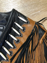 Load image into Gallery viewer, Sheen Black Leather Jacket with Fringe