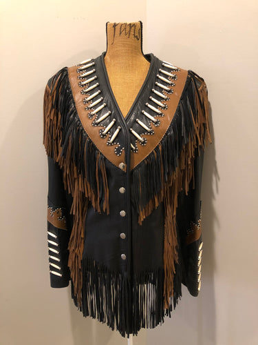Kingspier Vintage - Sheen black leather jacket with fringe and beaded detail. Made in the USA. Size large.
