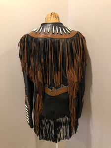 Sheen Black Leather Jacket with Fringe