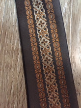 "Load image into Gallery viewer, Kingspier Vintage - Albersia brown and orange 70's pattern tie. Fibres unknown.  Length: 52.25""  Width: 2.25""   This tie is in excellent condition."