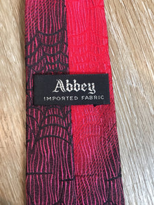 Vintage Abbey Red Tie with Spider Web Motif