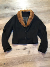 Load image into Gallery viewer, Vintage 60's Cropped Wool Jacket with Fur Collar